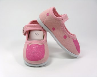 Pink Kitty Shoes, Kittens on Pink Mary Janes, Pussy Cats Hand Painted for Babies and Toddlers