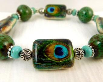 Peacock Motif Stretch Bracelet