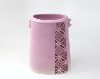 ON SALE Tall oval porcelain vase with lavender purple glaze