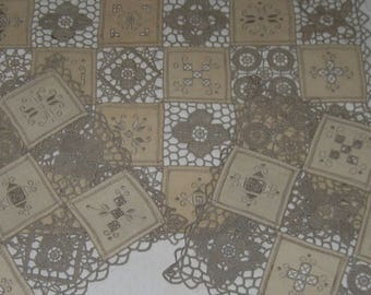 doilies . lot of 3 . oblong doilies . turkish doily . crochet and embroidered linen doily