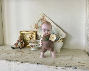 Antique German Tiny Bisque Miniature Boy Toddler Doll with Flower