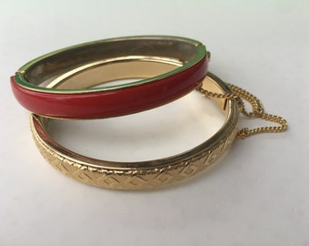 Two Red and Gold Vintage Bangles