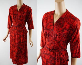 Vintage 1950s Dress Red and Black Fitted by Jo Ji B38 W30
