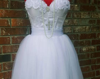 2017 80s Girls Just Wanna Have Fun- White Bachelorette Party Dress- Madonna Like a Virgin Outfit- High Waisted Skirt Cyndi Lauper Costume