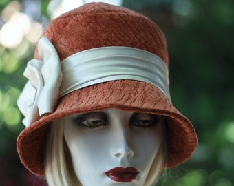 Womens 1920 Cloche Hat Trendy Winter Downton Abbey Rust Fabric Cancer Patients