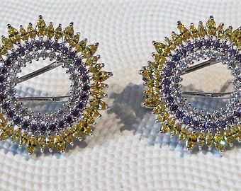 Yellow and purple stud earrings, very dainty studs