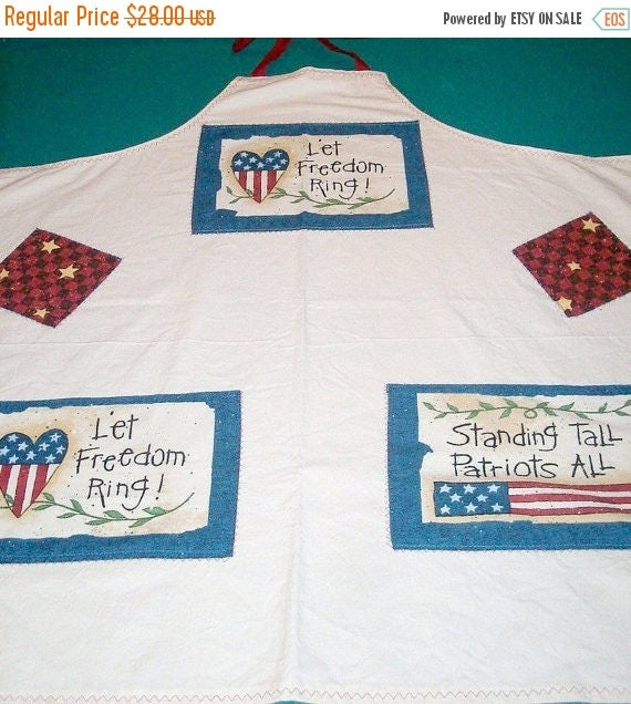 Spring Sale Americana Aporn - Patriotic Apron - Extra Large Apron - 2 Pocket Apron - US Flags - Red White and Blue Apron - 4th Of July Apron