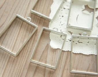 4 pcs Open Bezel Charm / Rectangle  (23mm33mm) Nickel AZ396