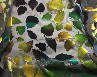 Multi Leaves - Burnout Silk Velvet Fabric - 1 Yard