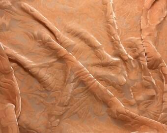 Orange Sherbet Floral - Hand Dyed Burnout Silk Velvet - 1 Yard