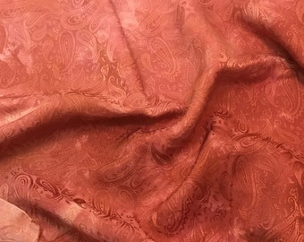 """Hand Dyed Peachy Coral PAISLEY - Silk Jacquard Fabric - 9""""x22"""" remnant"""