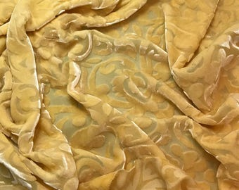 "Golden Yellow Scroll - Hand Dyed Burnout Silk Velvet (9""x22"") remnant"