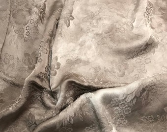 """Hand Dyed TAUPE GRAY FLORAL - Silk Jacquard Fabric - 9""""x22"""" remnant"""