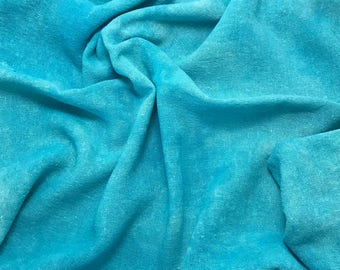 Hand Dyed TURQUOISE BLUE Raw Silk Noil Poplin Gauze Fabric - 1 Yard