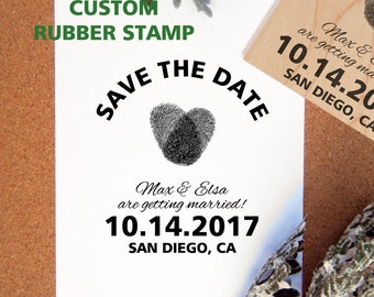 Fingerprint Heart Save the Date Wedding Rubber Stamp // DIY Wedding // Handmade by Blossom Stamps
