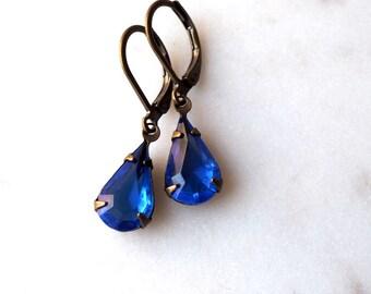 Sapphire Blue Jewel Earrings / Vintage Glass Rhinestone Earrings / Antiqued Brass Earrings / Bright Blue Teardrop /September Birthstone
