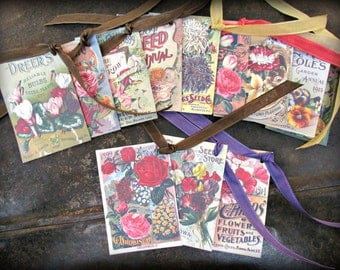 Antique Seed Catalog Hang Tags Set of 12 (#2) FREE SHIPPING Gardening Herbs