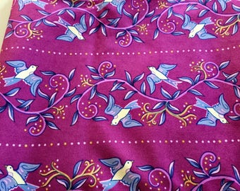 Fushia White and Blue Floral with Birds Cotton Print 3 yards by 45 inches.