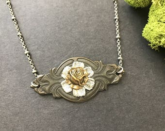 OOAK Rose Necklace, Gothic Jewelry, Goth, Woodland Necklace, Victorian Rose, One Of A Kind, Nature Inspired, Unique Necklace, Gifts for Her