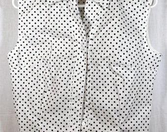 Vintage 1950s Woman's Sleeveless Polka Dot Print Top Shirt Blouse  Cotton - Rockabilly - Size Medium