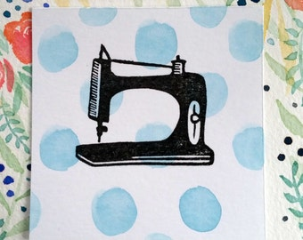 Sewing Machine - Hand Carved Rubber Stamp
