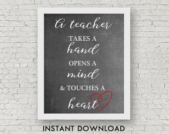 Teacher Quote Printable, Instant Download, Teacher Appreciation Printable, 8x10 JPG and 8.5x11 PDF