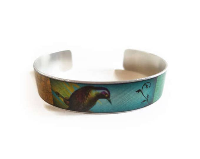 Bird with Butterfly and Bees cuff bracelet skinny thin