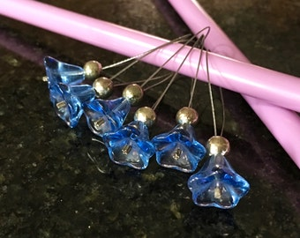 Stitch Markers - Glass Bead Trumpet Flowers Bellflower hand made stitch marker