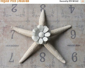 ON SALE Vintage White Metal Daisy Brooch Pin Jeweled Starfish, Inspirational Bridal Gift, Beach Wedding Cake Decor, Beach Cottage Coastal St