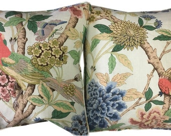 Pair GP & J Baker Hydrangea Bird Pale Green Linen Cushion Covers