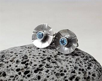 Swiss Blue Topaz Posts Blue Topaz Studs Blue Gemstone Earrings