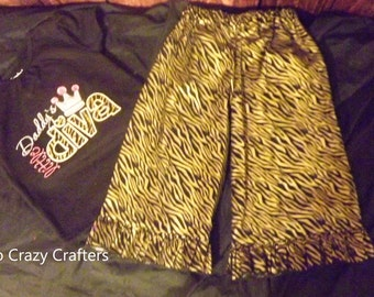 Daddys Little Diva T-Shirt and Ruffle Pants Outfit, Zebra Print, Black, Gold