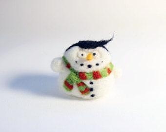 Felt Christmas ornament - needle felted snowman - striped scarf