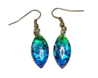 Dichroic Blue Green Earrings- polymer clay jewelry- Resin earrings- Crystal Earrings- Ready to Ship- Gifts for Her