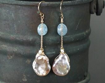 Aquamarine, Keshi Pearl earrings, Blush Lavender cornflake Keshi Pearl, 14k gold filled earrings, Gift for Her, Birthstone
