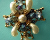 Vintage Brooch Pin Ornate Baroque Faux Pearls Light Blue Rhinestones  & AB Crystal Briolettes Unsigned and Repaired