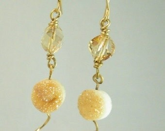 ON SALE Creamy Beige Druzy with Gold Earrings