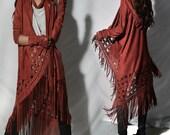 Alcazar boho fringed jacket / Moroccan pattern asymmetrical hooded trench coat / false suede fringed jacket / spring summer parka (Y1566z)