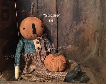 Sophie Primitive Fall Pumpkin Doll Pattern Instant