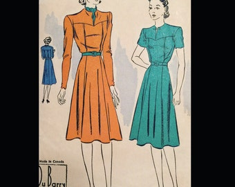 Vintage 30s Yoked Bodice Gored Skirt Slit Neckline Frock Dress Sewing Pattern 2335 B32
