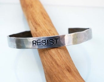 Resist Cuff, Hammered Cuff Bracelet, Pride Day Jewelry, Resistance, Unisex Cuff, Protest Jewelry, LGBTQ Jewelry