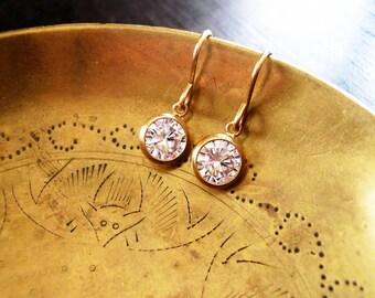 Gold Crystal Earrings - Tiny Gold Filled Crystal Earrings - Tiny Gold Earrings, 14K Gold Filled Earrings, CZ Earrings, Diamond Look Earrings