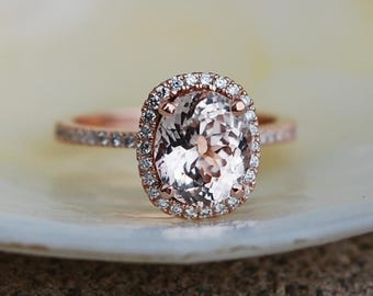 Rose gold engagement ring. Peach sapphire 2.2ct peach champagne sapphire 14k rose gold diamond ring by Eidelprecious