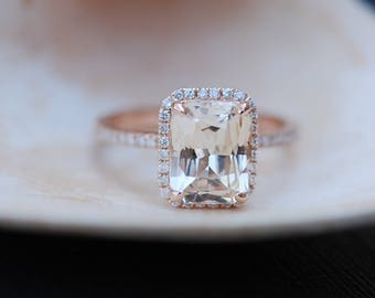 Champagne Engagement Ring. Emerald cut sapphire ring. 14k rose gold diamond ring 3.14ct sapphire engagement ring by Eidelprecious