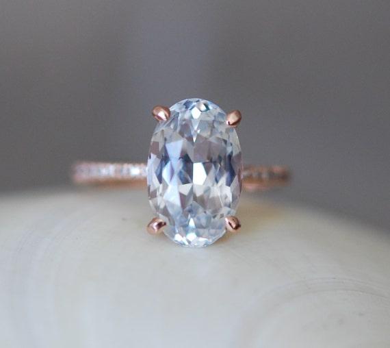 Blake Lively ring. White Sapphire Engagement Ring. Oval cut. 14k rose gold diamond ring 5.33ct white sapphire ring