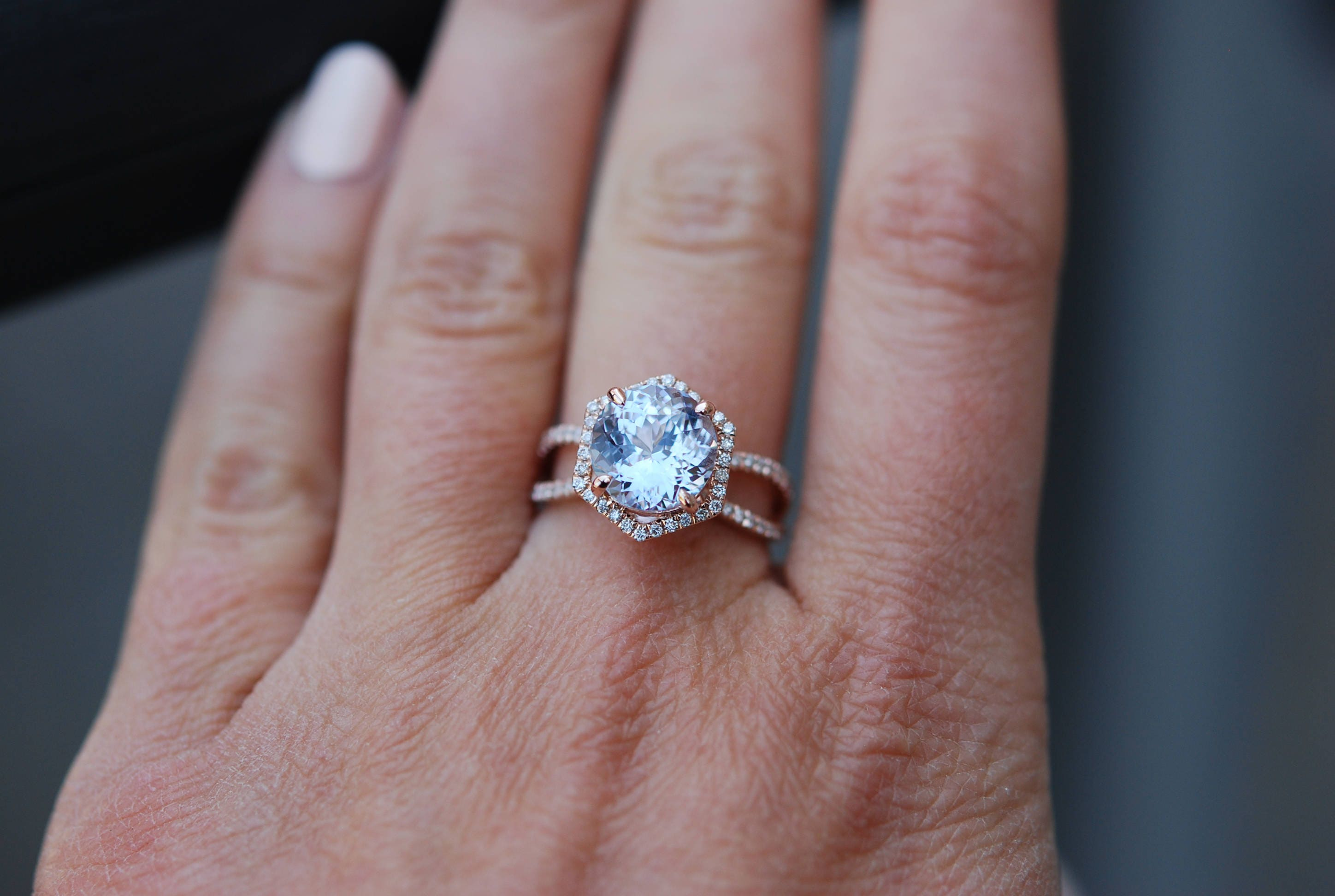 Hexagon Engagement Ring White to Ice blue Sapphire Ring 14k Rose