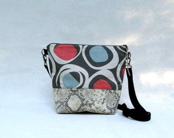 ADELE MEDIUM Handbag // Medium Cross Body Purse // Canvas and Faux Leather