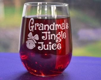 Grandma's Jingle Juice Holiday Wine Glass, Personalized Engraved Mom's Sippy Cup, Fun Christmas Gift for Mom