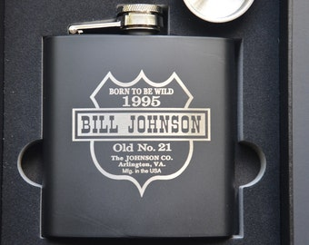Personalized Engraved Flask Set, Custom Birthday Gift, Birthday Gift, Boyfriend Gift, Gifts for Guys