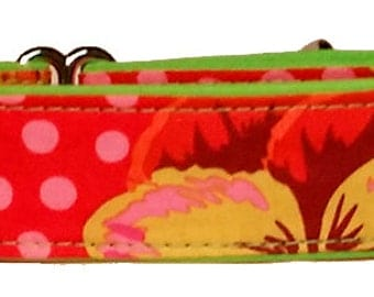 """Bright Lime, Pink and Reds-  1 1/2""""  Martingale Collar-"""